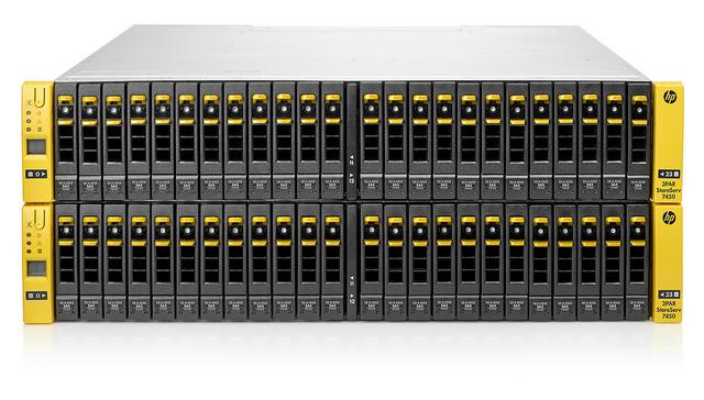 Das Flash-optimierte Speichersystem 3PAR Store Serv 7450 beschleunigt angeblich die Performance von Applikationen um den Faktor 5, benötigt dabei aber um 90 Prozent weniger Platz (Foto: HP).