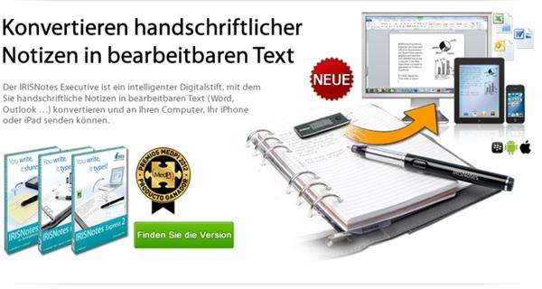 Der Iris Pen lässt sich auch auf ganz normalem Papier nutzen. Die handschriftlichen Texte werden am PC in Text umgewandelt. Der Pen ist aber auch zu Tablet PCs kompatibel.