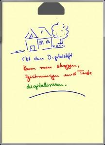 Skizzen oder Texte, beides wird vom Staedtler-Stift erst mal als Bilddatei gespeichert.