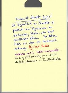 Wer seine Notizen später in Text umwandeln lassen will, sollte eine saubere Schrift haben, möglichst noch sauberer als in diesem Beispiel, das mit dem Stift von Staedtler entstanden ist.