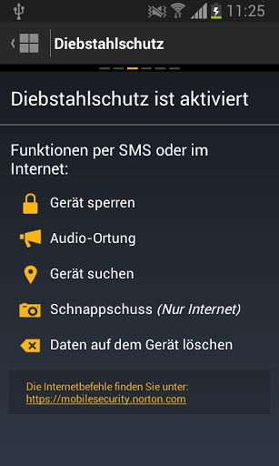 Norton Mobile Security Funktionen