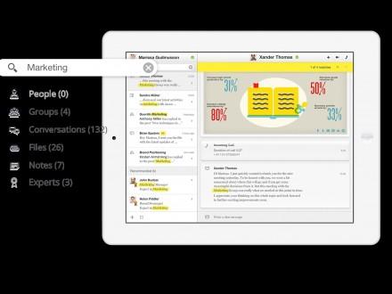"""Alle Informationsquellen und Kommunikationsströme lassen sich in """"Ansible"""" nach Stichwörtern durchforsten (Bild: Siemens Enterprise Communications)."""