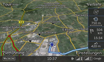 So sieht die Navigaion mit den Google-Diensten im LTE-vernetzten Audi S3 aus (Bild: Audi AG).
