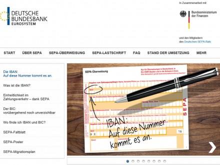 Die gemeinsame Seite der Deutschen Bundesbank und des Finanzministeriums informiert über SEPA.