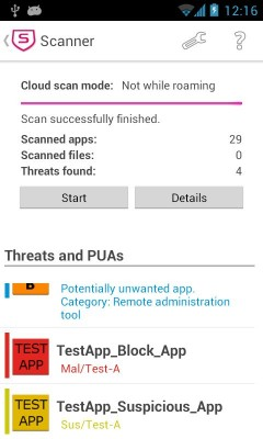 Sophos Mobile Security 3.0:Android Scan