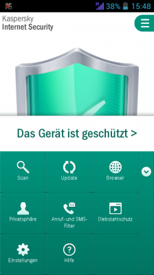 Das Options-Menü in Kasperskys Internet Security für Android. Neben der Scan-Funktion ist der Diebstahlschutz die wichtigste Funktion.