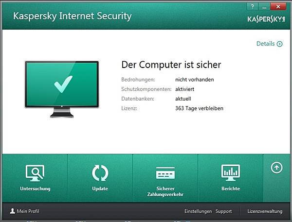 Kasperskys Internet Security Suite 2014 zeichnet sich durch ein simple und übersichtliche Bedienoberfläche aus.