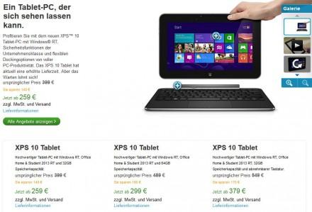 In den USA wird das XPS 10 von Dell bereits nicht mehr angeboten, in Deutschland werden die Lagerbestände noch abverkauft (Screenshot: ITespresso).