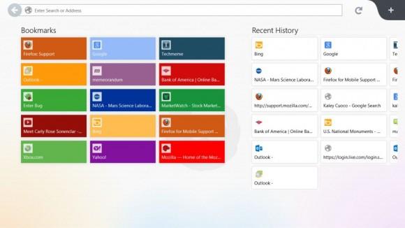 Die neue Startseite von Firefox Metro für die Windows-8-Benutzeroberfläche (Bild: Mozilla)