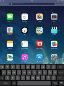 iOS 7 auf dem iPad: Anders als bei Android unterscheidet die Tastatur bei der Buchstabendarstellung nicht zwischen Groß- und Kleinschrift (Screenshot: ZDNet).
