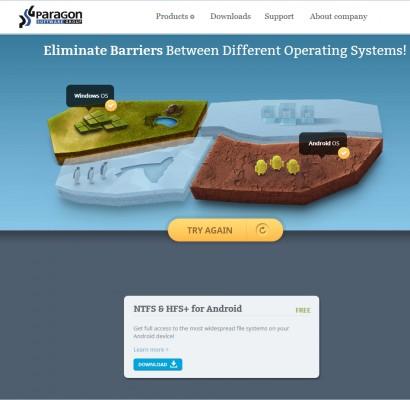 Der Nutzer kann auf paragon-drivers.com  zwei zueinander inkompatible Betriebssysteme - wie Windows und Android - auswählen und bekommt die passende problemlösende Software angezeigt. (Screenshot: ITespresso)