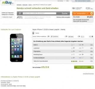 Bei Rebuy bekommt ein Smartphone-Verkäufer aktuell am meisten für sein iPhone 5. Dicht dahinter folgen die Beträge von Momox.
