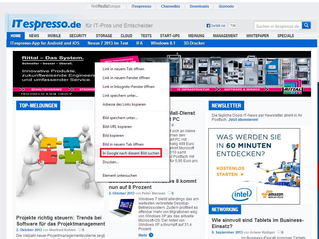 Das Kontextmenü von Chrome 30 ermöglicht einen direkten Zugriff auf die Bildersuche (Screenshot: ITespresso).