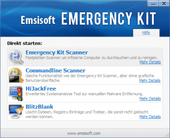 Das Emsisoft-Emergencykit wird auf USB-Stick geliefert und bereinigt von dort aus infizierte PCs. (Bild: Emsisoft)