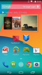 Der Homescreen von Android 4.4 (Bild: Christian Lanzerath)