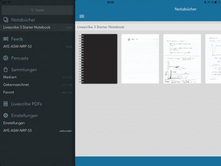 Das Menü der Livescribe App auf der linken Seite.