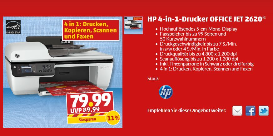 hp officejet 2620 f r 80 euro bei penny. Black Bedroom Furniture Sets. Home Design Ideas