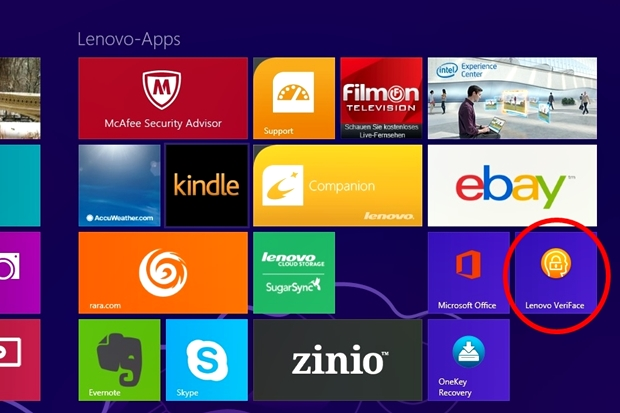 """In der Kategorie """"Lenovo Apps"""" sind Reihe von Programmen vorinstalliert, darunter auch eine Zugangssicherung mit Gesichtserkennung."""