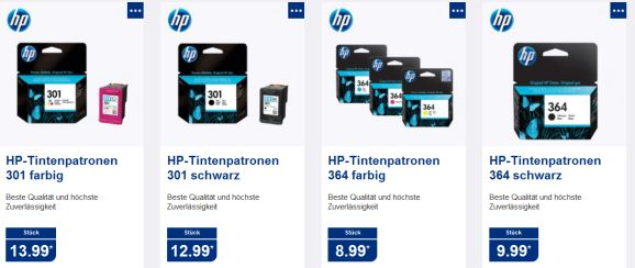 Aldi-HP-Tintenpatronenauswahl