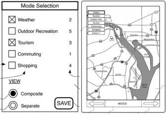 Ein Patentantrag von Apple beschreibt eine neue App für interaktive Karten (Bild: Apple / USPTO).