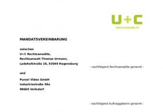 Mandantenvereinbarung von Urmann + Collegen