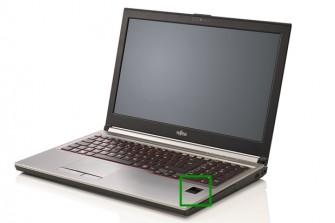 Ein Fujitsu-Notebook aus der Celsius-Serie. Der Palm-Secure-Scanner befindet sich rechts unterhalb der Tastatur (grünes Quadrat). (Foto: Fujitsu)