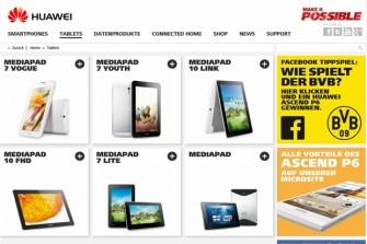 Die Erfahrungen mit Consumerprodukten wie Smartphones und Tablets nutzt Huawei auch für die Produkte im Bereich Enterprise. Ein Screenshot von der Website für Mediapads.