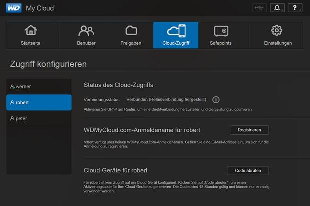 """Im Menü """"Cloud-Zugriff"""" regelt der Administrator mit welchen Accounts und Passwörtern die Nutzer auf My Cloud zugreifen."""