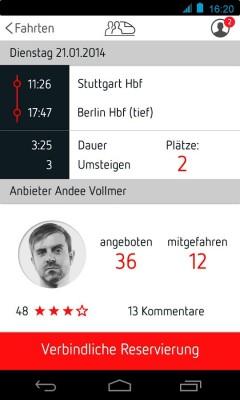 Mitfahrgelegenheiten anbieten und nutzen ohne KfZ: Die Bahnsharing-App vermittelt den Kontakt. (Bild: Appealing GmbH)