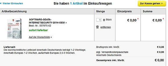 Bei Nutzung der Conrad-Aktion steht G Data Internet Security 2014 für 0,00 Euro im Warenkorb. (Screenshot: ITespresso.de im Conrad-Onlineshop)