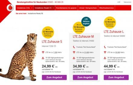 Vodafone-Tarife für LTE zuhause