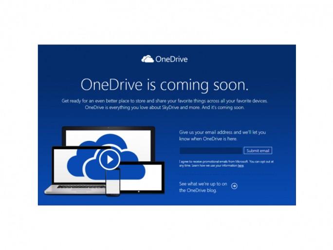 Ankündigung von OneDrive