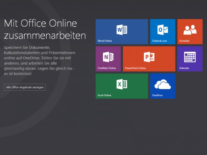 Startseite von Office.com