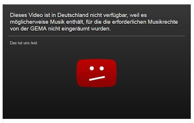 Der von der GEMA beanstandete, alte Sperrhinweis auf Youtube (Screenshot: ITespresso)
