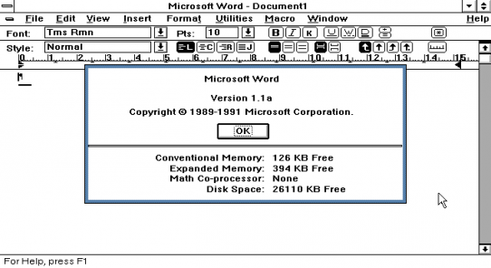 Word for Windows 1.1a (Bild: Computer History Museum)