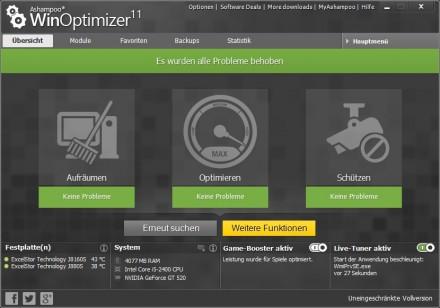 Aufräumen, Optimieren, Schützen - das sind die Hautaufgaben von Ashampoos Winoptimizer 11. (Screenshot: Ashampoo)
