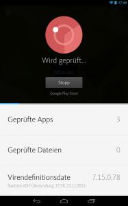 Die kostenlose Avira-App Antivirus Security für Android scannt alle installierten Apps und bietet somit einen guten Basisschutz. (Screenshot: Avira)