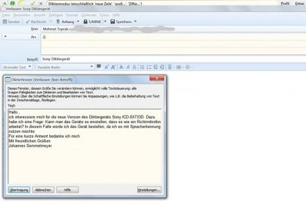 Will man in einem Mailprogramm wie Mozilla Thunderbird diktieren, öffnet sich dieses Eingabefenster von Naturally Speaking. Das Diktat wird anschließend in das Textfenster von Thunderbird übertragen.