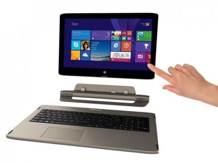 Tablet-Einheit, Verbindungselement und die Tastatur lassen sich beim Medion Akoys voneinander trennen. (Foto: Medion)