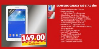 Penny verkauft ab 3. April das Samsung Galaxy-Tab 3 7.0 Lite für 149 Euro (Screenshot: ITespresso).