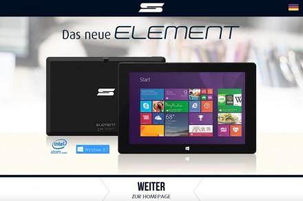 Auf der Startseite von Schenker Technologies wird das neue Tablet beworben.