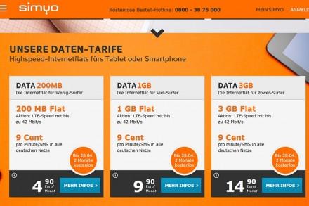 Die Website des Mobilfunkanbieters Simyo: Interessant für Tablet-Nutzer: Die Datentarife für Anwender, die hauptsächlich übers Web kommunizieren, und nicht telefonieren.