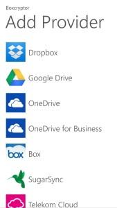 Nutzer von Windows Phone kommen jetzt auch in den Genuss der Verschlüsselungs-Software Boxcryptor. Die Software arbeitet mit Cloud-Diensten wie Dropbox oder One Drive zusammen. (Screenshot: Secomba)