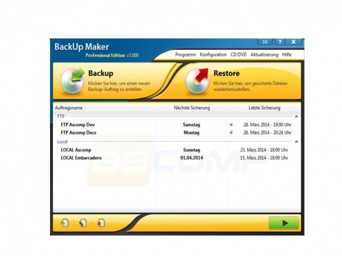 BackUpmake 7 Startscreen