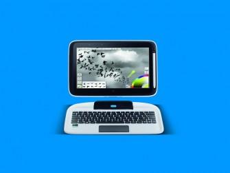 Der Bildschirm des Intel Education 2-in-1 lässt sich von der Tastatur lösen und als Tablet verwenden (Bild: Intel).