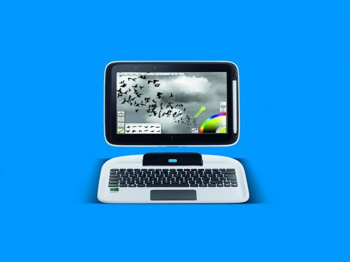 Der Bildschirm des Intel Education 2-in-1 lässt sich von er Tastatur lösen und als Tablet verwenden (Bild: Intel).