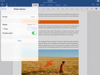 Endlich kann in Office für iPad auch gedruckt werden (Bild: Microsoft).