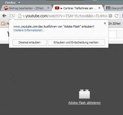 Firefox: Plug-ins lassen sich so konfigurieren, dass sie nicht automatisch Inhalte abspielen (Screenshot: ZDNet.de)