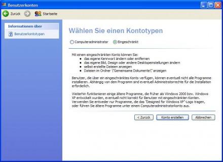 Windows XP absichern: So lässt sich ein eingeschränktes Konto einrichten (Screenshot: ZDNet.de)