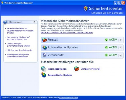XP-Sicherheitscenter (Screenshot: ZDNet.de)